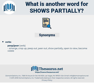 shows partially, synonym shows partially, another word for shows partially, words like shows partially, thesaurus shows partially