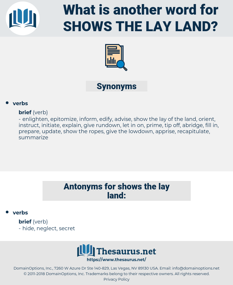 shows the lay land, synonym shows the lay land, another word for shows the lay land, words like shows the lay land, thesaurus shows the lay land