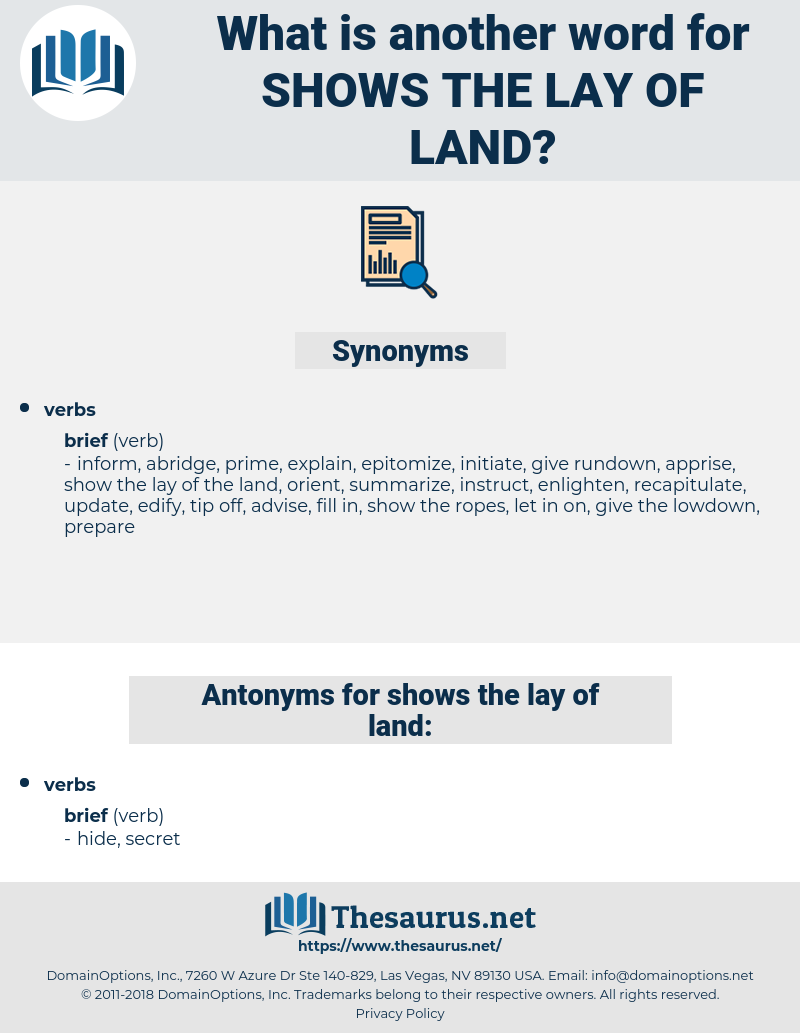 shows the lay of land, synonym shows the lay of land, another word for shows the lay of land, words like shows the lay of land, thesaurus shows the lay of land