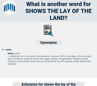 shows the lay of the land, synonym shows the lay of the land, another word for shows the lay of the land, words like shows the lay of the land, thesaurus shows the lay of the land