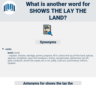 shows the lay the land, synonym shows the lay the land, another word for shows the lay the land, words like shows the lay the land, thesaurus shows the lay the land