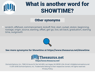 showtime, synonym showtime, another word for showtime, words like showtime, thesaurus showtime