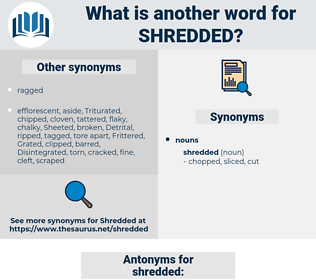shredded, synonym shredded, another word for shredded, words like shredded, thesaurus shredded