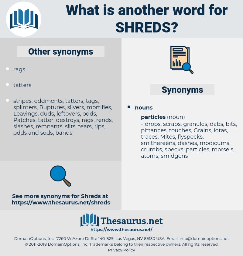 shreds, synonym shreds, another word for shreds, words like shreds, thesaurus shreds