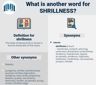 shrillness, synonym shrillness, another word for shrillness, words like shrillness, thesaurus shrillness