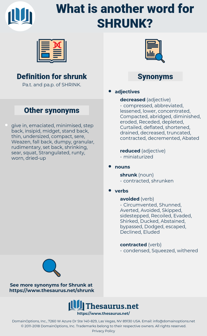 shrunk, synonym shrunk, another word for shrunk, words like shrunk, thesaurus shrunk