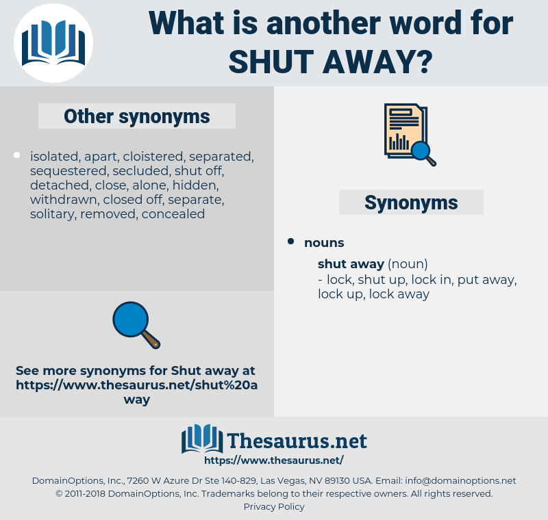 shut away, synonym shut away, another word for shut away, words like shut away, thesaurus shut away