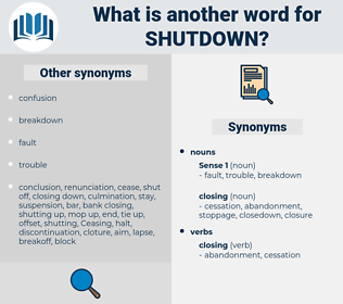 shutdown, synonym shutdown, another word for shutdown, words like shutdown, thesaurus shutdown