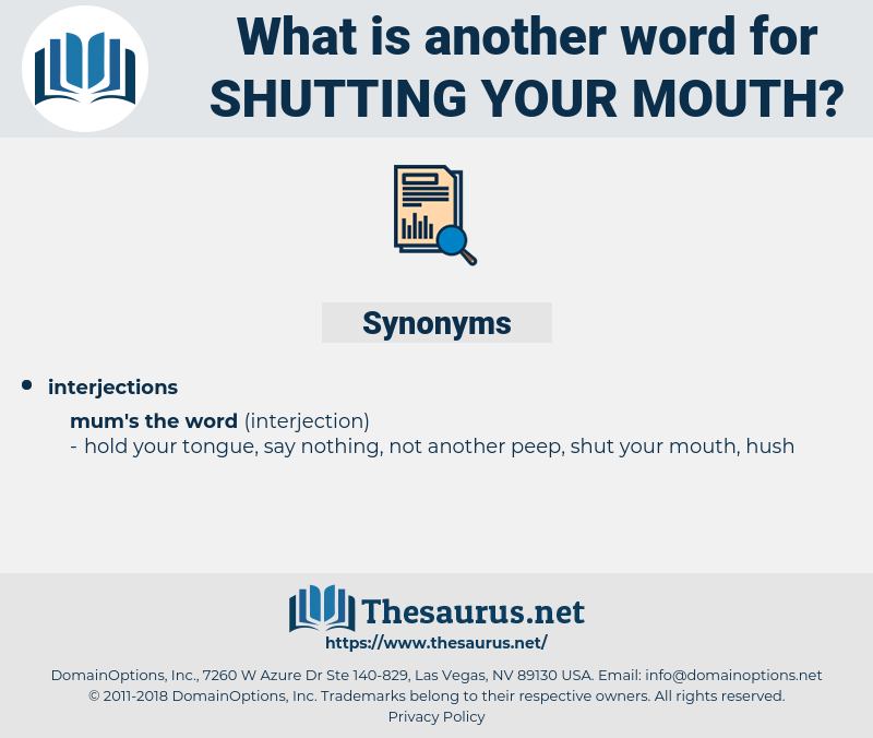 shutting your mouth, synonym shutting your mouth, another word for shutting your mouth, words like shutting your mouth, thesaurus shutting your mouth