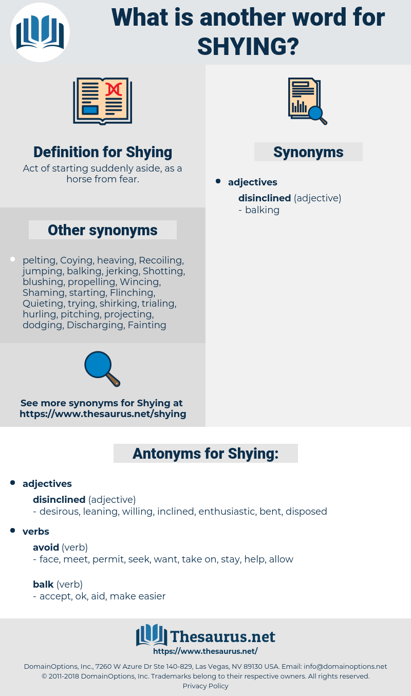 Shying, synonym Shying, another word for Shying, words like Shying, thesaurus Shying