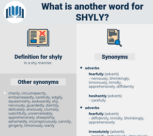 shyly, synonym shyly, another word for shyly, words like shyly, thesaurus shyly
