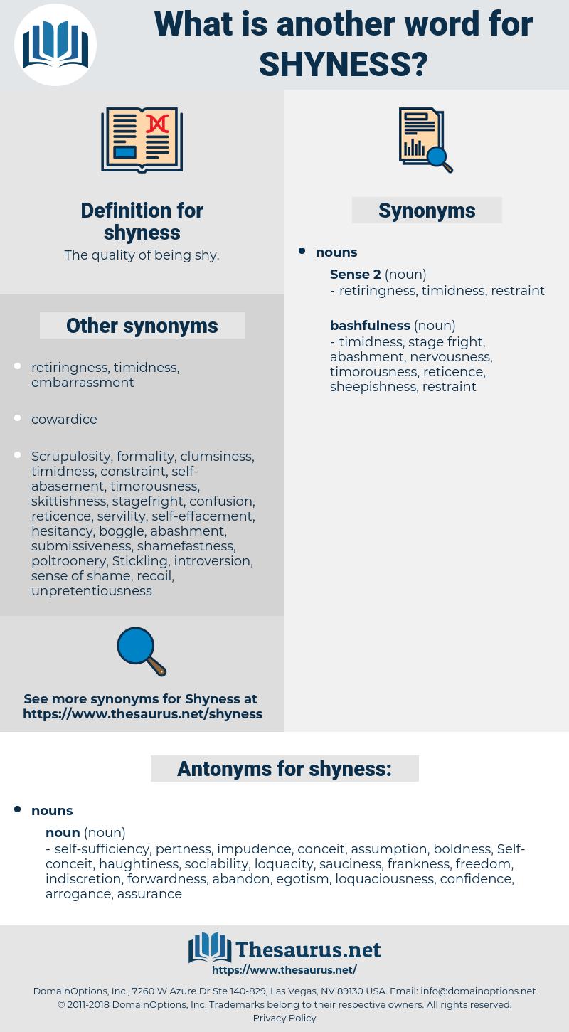 shyness, synonym shyness, another word for shyness, words like shyness, thesaurus shyness