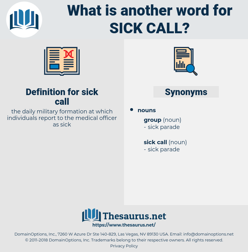 sick call, synonym sick call, another word for sick call, words like sick call, thesaurus sick call
