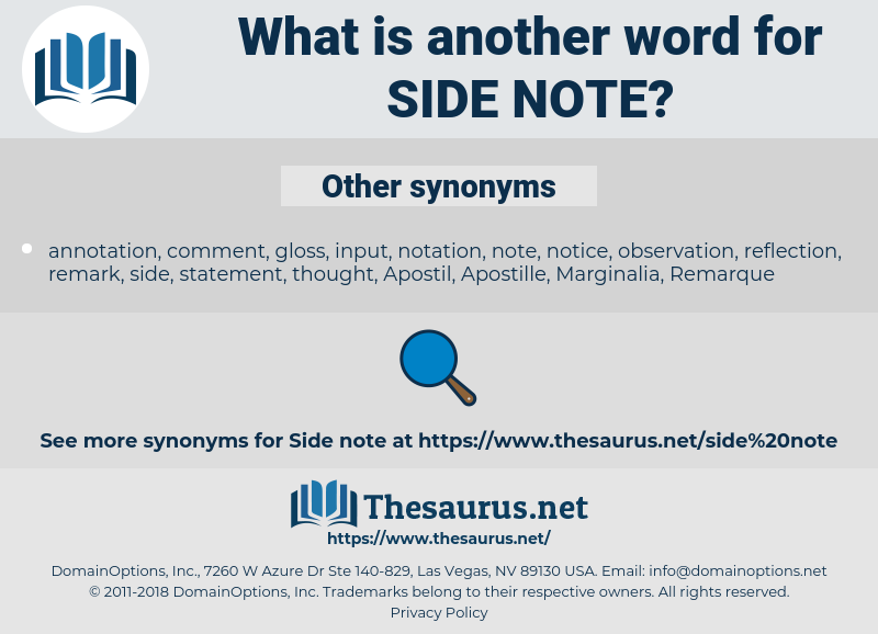 side note, synonym side note, another word for side note, words like side note, thesaurus side note