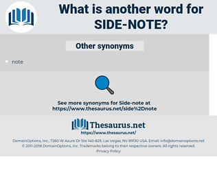 side-note, synonym side-note, another word for side-note, words like side-note, thesaurus side-note