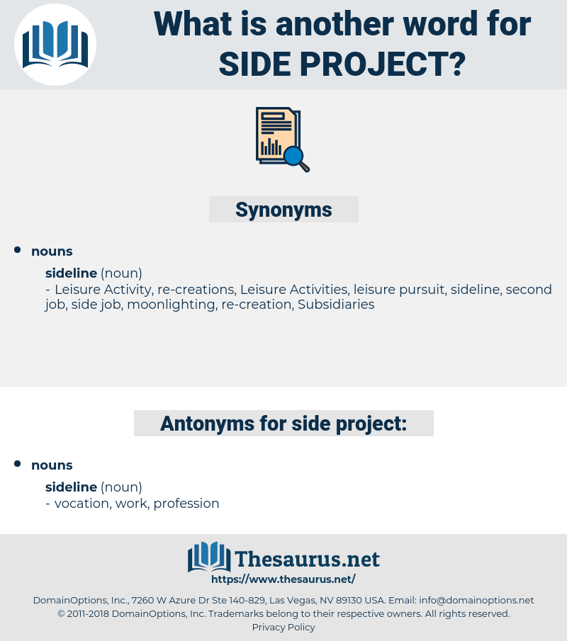 side project, synonym side project, another word for side project, words like side project, thesaurus side project