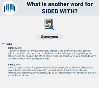 sided with, synonym sided with, another word for sided with, words like sided with, thesaurus sided with