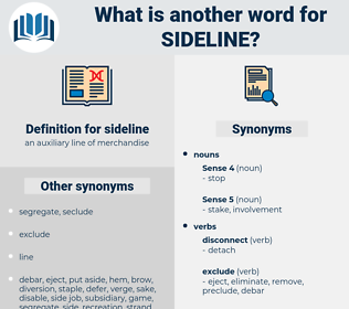 sideline, synonym sideline, another word for sideline, words like sideline, thesaurus sideline
