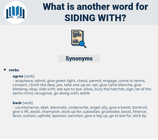 siding with, synonym siding with, another word for siding with, words like siding with, thesaurus siding with