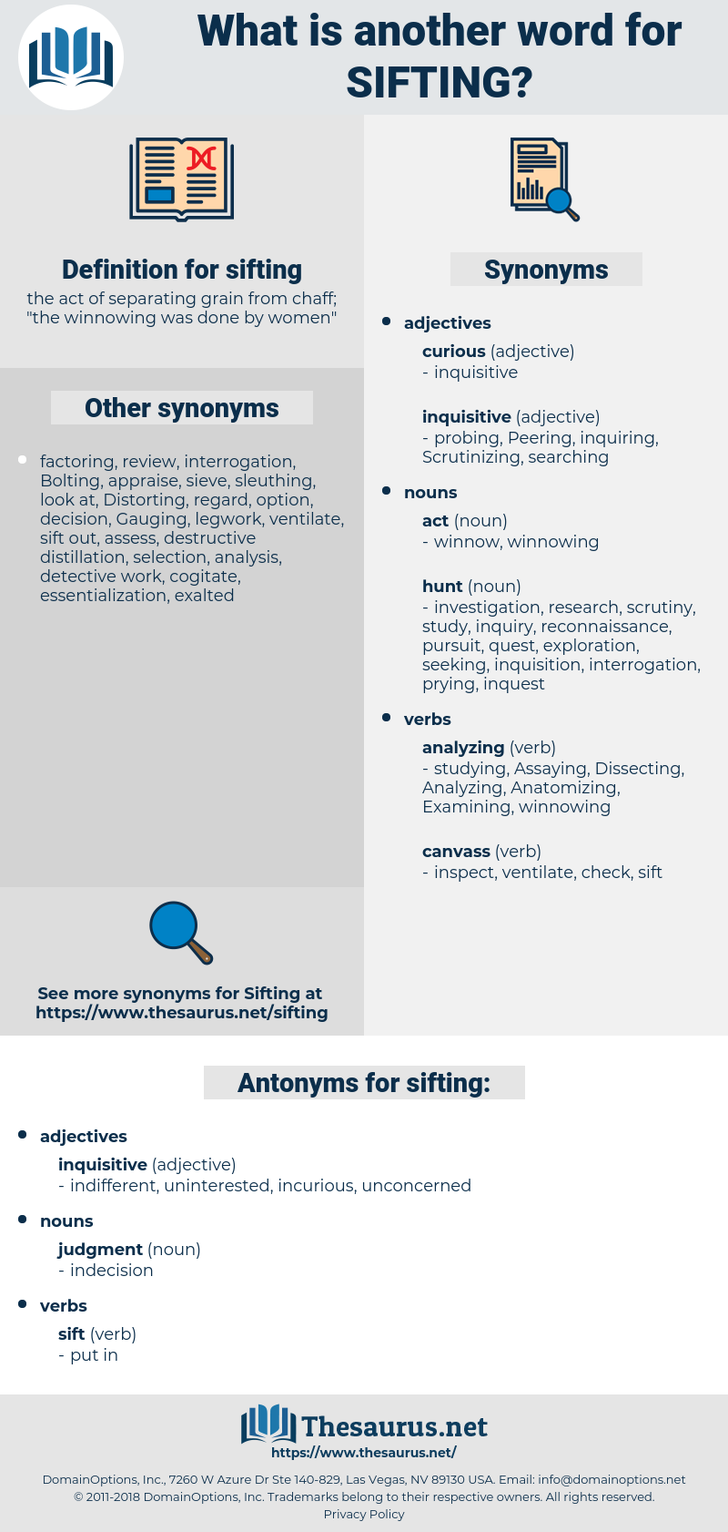 sifting, synonym sifting, another word for sifting, words like sifting, thesaurus sifting
