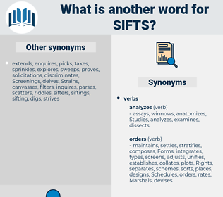 sifts, synonym sifts, another word for sifts, words like sifts, thesaurus sifts