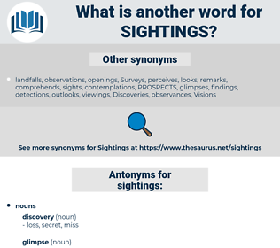 sightings, synonym sightings, another word for sightings, words like sightings, thesaurus sightings