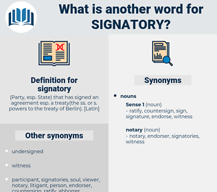 signatory, synonym signatory, another word for signatory, words like signatory, thesaurus signatory