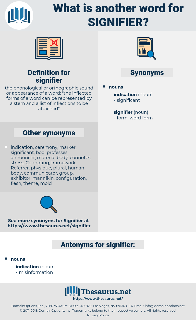 signifier, synonym signifier, another word for signifier, words like signifier, thesaurus signifier