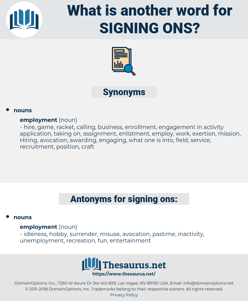 signing ons, synonym signing ons, another word for signing ons, words like signing ons, thesaurus signing ons