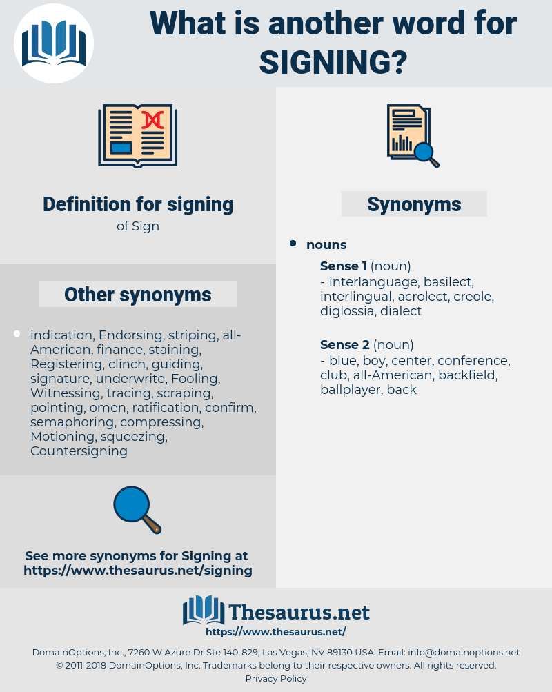 signing, synonym signing, another word for signing, words like signing, thesaurus signing