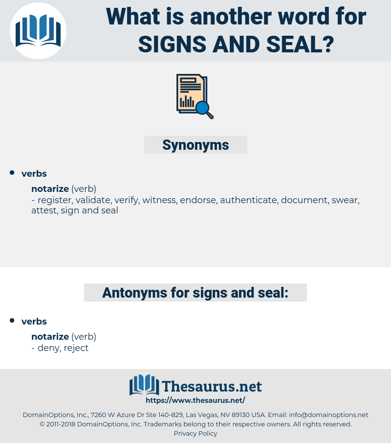 signs and seal, synonym signs and seal, another word for signs and seal, words like signs and seal, thesaurus signs and seal