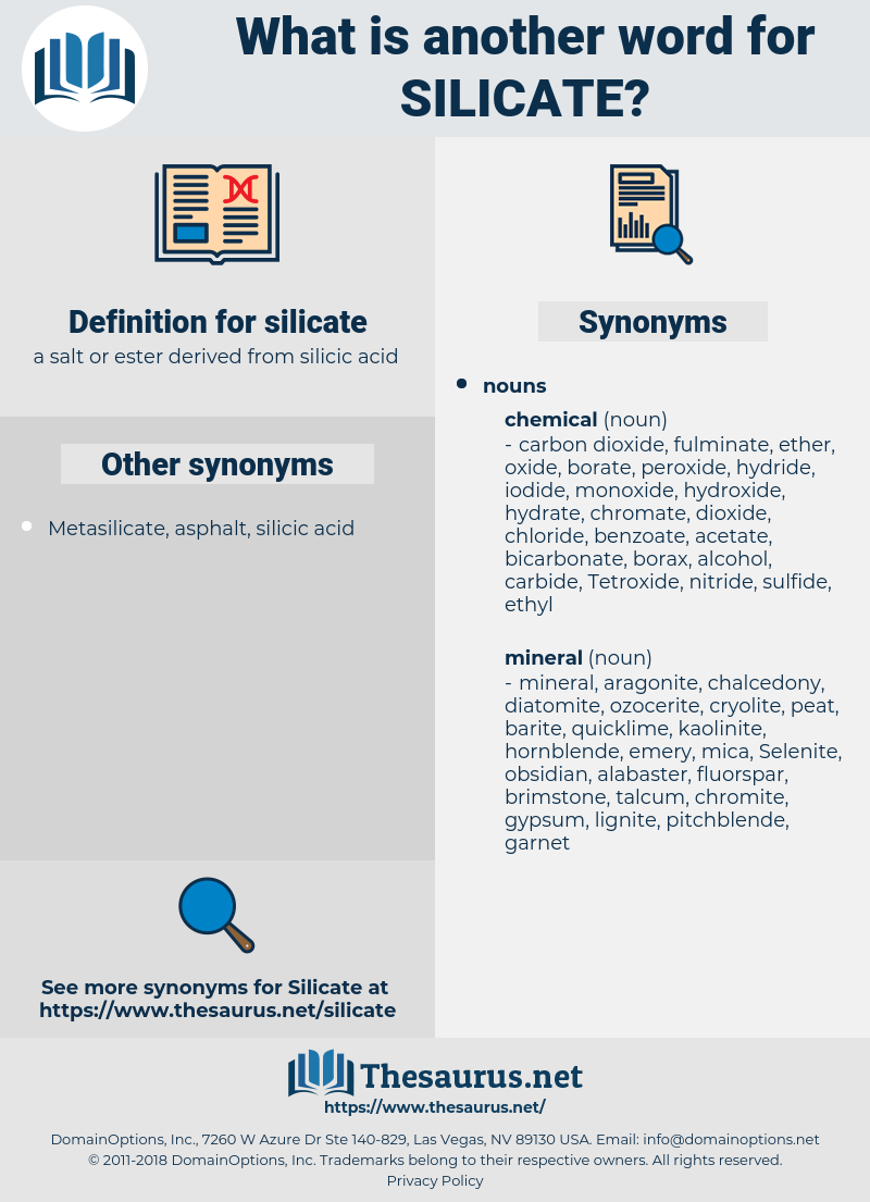 silicate, synonym silicate, another word for silicate, words like silicate, thesaurus silicate