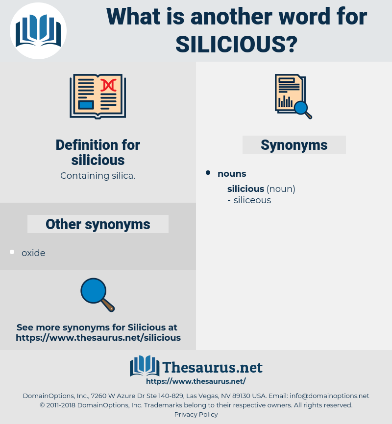 silicious, synonym silicious, another word for silicious, words like silicious, thesaurus silicious