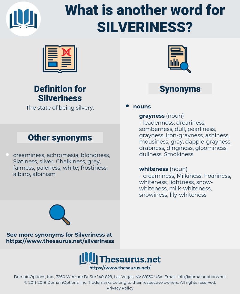 Silveriness, synonym Silveriness, another word for Silveriness, words like Silveriness, thesaurus Silveriness