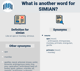 simian, synonym simian, another word for simian, words like simian, thesaurus simian