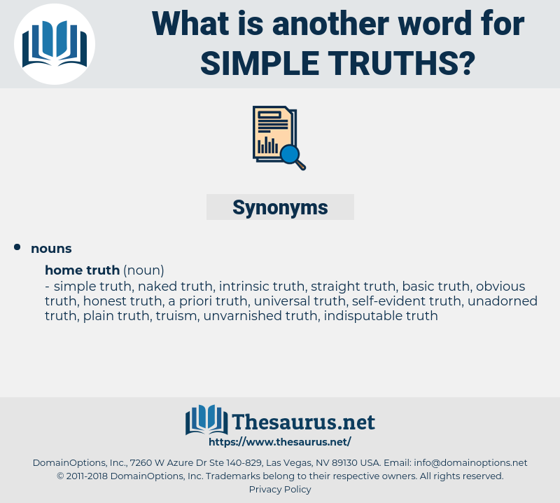 simple truths, synonym simple truths, another word for simple truths, words like simple truths, thesaurus simple truths