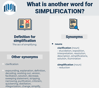simplification, synonym simplification, another word for simplification, words like simplification, thesaurus simplification