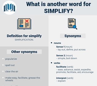 simplify, synonym simplify, another word for simplify, words like simplify, thesaurus simplify