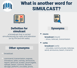 simulcast, synonym simulcast, another word for simulcast, words like simulcast, thesaurus simulcast