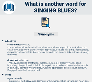 singing blues, synonym singing blues, another word for singing blues, words like singing blues, thesaurus singing blues