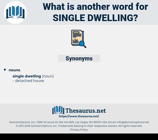 single dwelling, synonym single dwelling, another word for single dwelling, words like single dwelling, thesaurus single dwelling