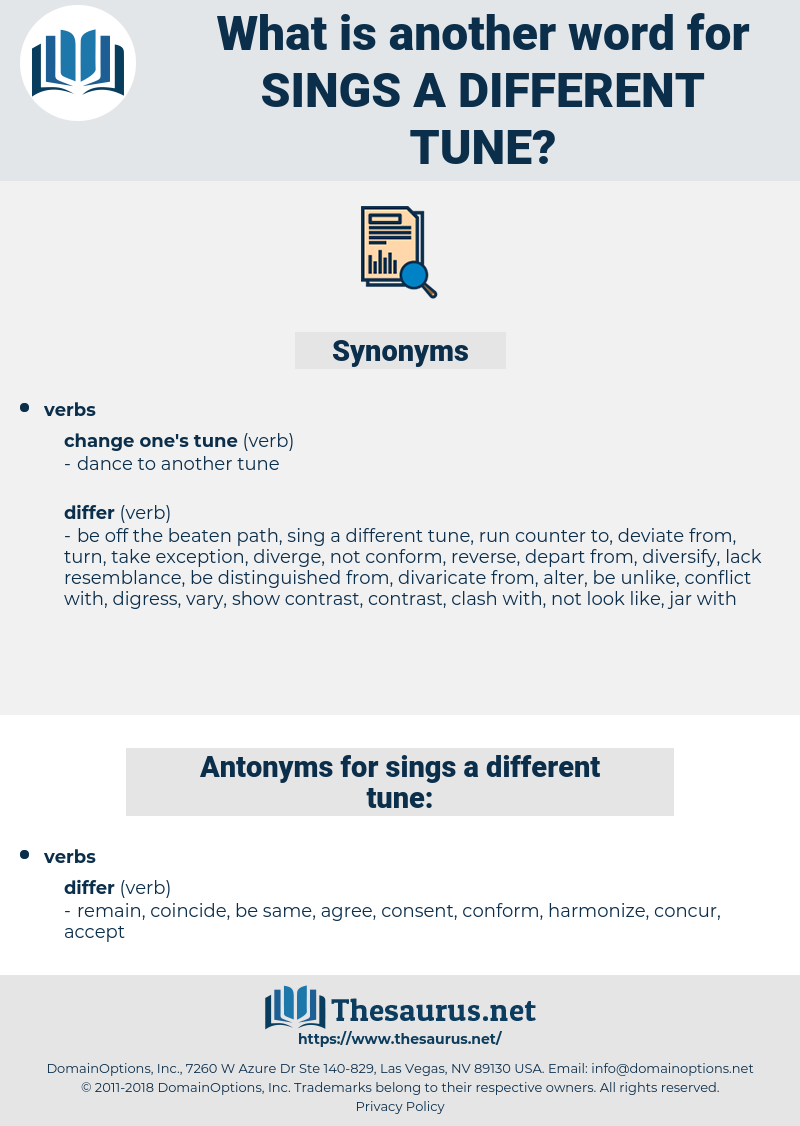 sings a different tune, synonym sings a different tune, another word for sings a different tune, words like sings a different tune, thesaurus sings a different tune