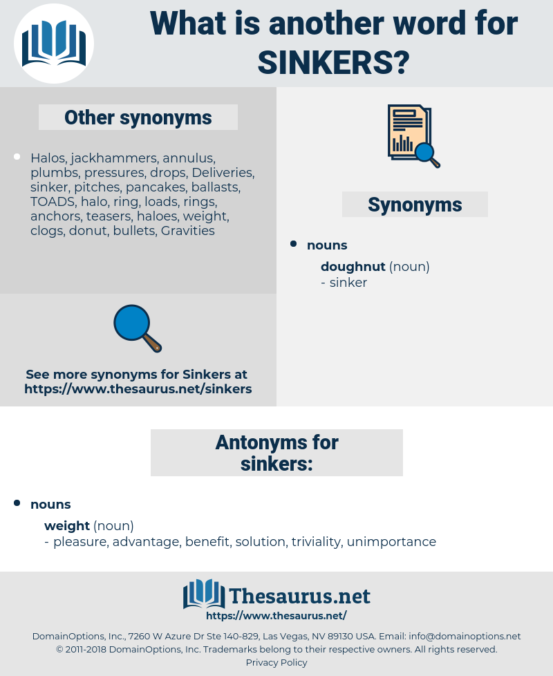 sinkers, synonym sinkers, another word for sinkers, words like sinkers, thesaurus sinkers