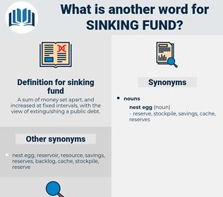 sinking fund, synonym sinking fund, another word for sinking fund, words like sinking fund, thesaurus sinking fund