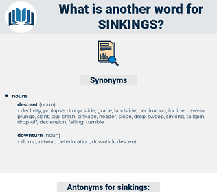 sinkings, synonym sinkings, another word for sinkings, words like sinkings, thesaurus sinkings