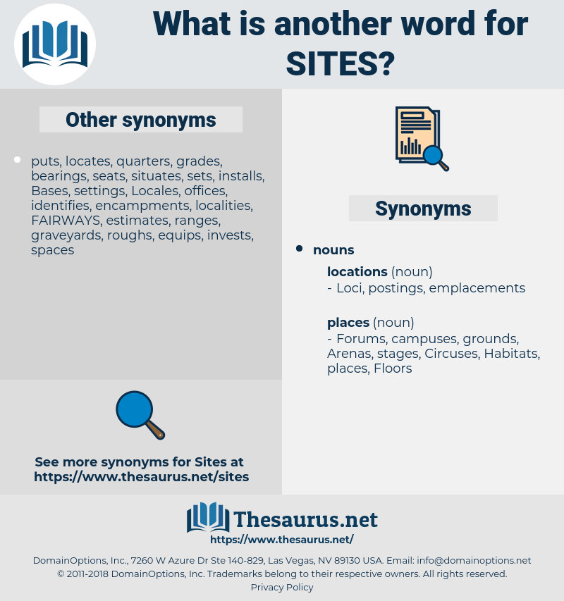 sites, synonym sites, another word for sites, words like sites, thesaurus sites