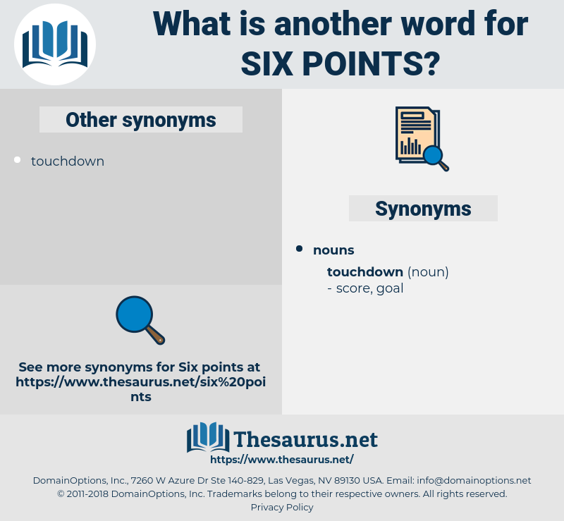 six points, synonym six points, another word for six points, words like six points, thesaurus six points