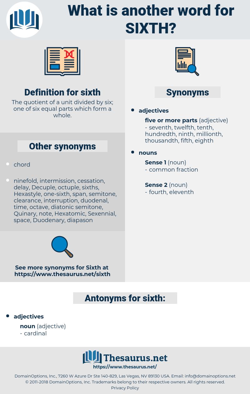 sixth, synonym sixth, another word for sixth, words like sixth, thesaurus sixth