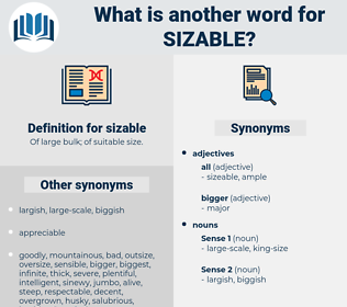 sizable, synonym sizable, another word for sizable, words like sizable, thesaurus sizable