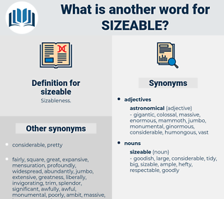 sizeable, synonym sizeable, another word for sizeable, words like sizeable, thesaurus sizeable